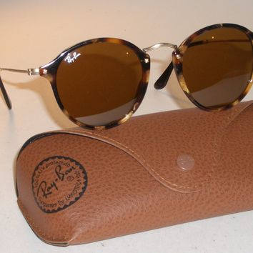 RAY BAN RB2447 1160 49 21 SLEEK TORT FRAMES B15 BROWN ROUND AVIATOR SUNGLASSES