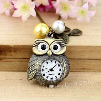 Milk tea color - gold pearl necklace - bronze owl necklace - friendship gift for girlfriend and BFF