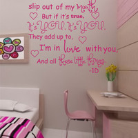 "SALE One Direction- ""These little things"" vinyl wall decal Song lyrics"