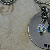 """Personalized Hand Stamped Stainless Steel Necklace with 4 Swarovski Birthstones included   """"My Loves"""""""