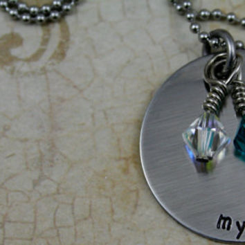 "Personalized Hand Stamped Stainless Steel Necklace with 4 Swarovski Birthstones included   ""My Loves"""