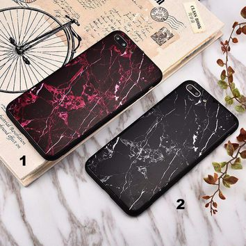 Fashion marble Glass texture mobile phone case for iPhone X 7 7plus 8 8plus iPhone6 6s plus -171212