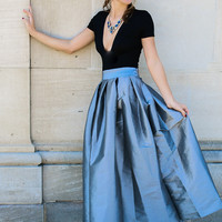 A Fairytale Story Silver High Waisted Pleated Maxi Skirt