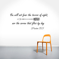 Wall Decals Quotes Vinyl Sticker Decal Art Home Decor Mural Psalm 91:5 Quote Bible Verse Wall Decal Arrows Fashion Bedroom Dorm AN471