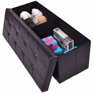 "Giantex 43""x15""x15"" Large Folding Storage PU Leather Ottoman Pouffe Home Office Organizer Box Modern Foldable Stools HW55968"