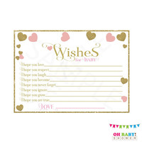 Pink and Gold Baby Shower Girl, Wishes for Baby Girl, Wishes for Baby Printable, Instant Download, Pink Gold Hearts, Baby Shower Wishes, PGH