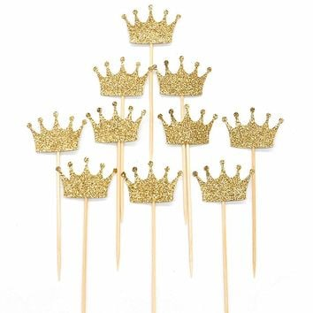 12Pcs Gold Glitter Crown Cake Topper Food Picks Cake Decoration Baby Shower Birthday Kids Gifts Wedding Favors Party Decoration