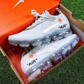 CREYNW6 Sale OFF WHITE x Nike Custom Air VaporMax 2.0 OW Sport Running Shoes White Ice Blue Sneaker
