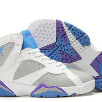 PEAPFN Hot Air Jordan 7 (VII) Retro Women Shoes White Grey Purple
