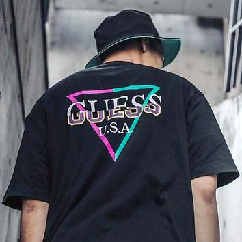 GUESS x atmos joint tide brand men and women round neck loose short-sleeved T-shirt Black
