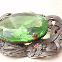 Green Glass Brooch Large Victorial Revival Floral Brass Frame Vintage 030416FT