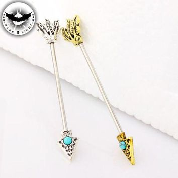 ac PEAPO2Q 1Piece  Surgical Steel Arrow Industrial Earring Barbell Body Blue Stone Industrial Piercing Ear Cartilage Ear Stud 1.6*38