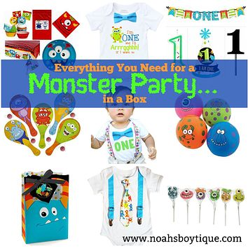 Monster Party in A Box - Decorations, Party Favors, Birthday Outfit, and Supplies for