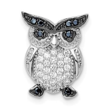 Sterling Silver Black And Clear CZ Owl Chain Slide Pendant