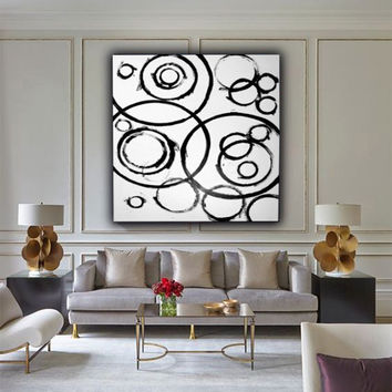 Large Abstract Painting on Canvas,Black and White, 47x39 Original Modern, Wall Art,Acrylic Abstract, Minimalist art