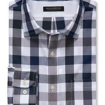 Banana Republic Mens Classic Fit Non Iron Gray Gingham Shirt