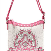 * Pink Western Cowgirl Two Gun Design Messenger Bag  M