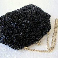 Little Black Beaded Evening Purse Handmade Safco Bag Very Small Formal Bead Sequin Clutch Gold Frame Kiss Clasp Vintage Handbag Hong Kong
