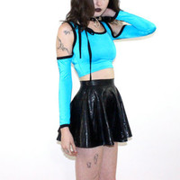 hella 90s.........Bright Blue CUT OUT Crop Cyber club kid top