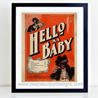 "Vintage Printable, ""Hello Ma Baby"", 8x10, African-American, Instant Download, Antique Wall Art, Antique Home Decor, Vintage Print, Retro Art"