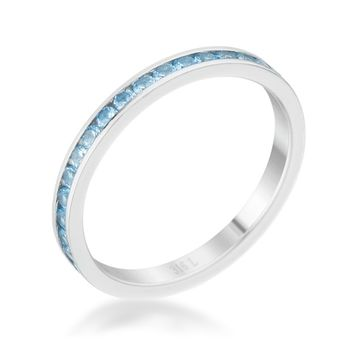 Teresa Blue Topaz Silver Eternity Stackable Ring | 1ct | Cubic Zirconia | Stainless Steel