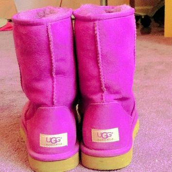 UGG Short boots antiskid warm lazy sheep fur simple ugg boots canister boots Fresh Rose