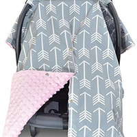 Premium Carseat Canopy Cover and Nursing Cover- Large Arrow Print with Soft Pink Dot Minky | Best for Infant Car Seat, Boy or Girl | All Weather | Universal Fit | Baby Shower Gift | Newborn Decor