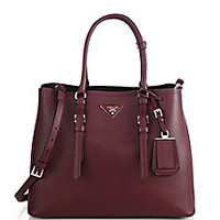 Prada - Saffiano Cuir Medium Double Bag - Saks Fifth Avenue Mobile