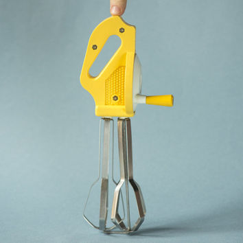Vintage manual hand mixer, yellow stainless steel egg beater, kitchen mixer yellow, kitchenware Soviet, home decor display