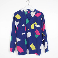 Vintage 1980s Blouse Navy Blue Abstract Geometric Shape Print Rainbow Confetti Pajama Top Cut Long Sleeve Tshirt Secretary Top M Med L Large