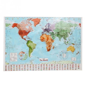 98 x 68CM Waterproof Big Large Map Of The World Poster With Country Flags Wall Stickers Wallpaper Art Posters Home Decor