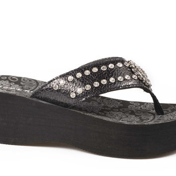 Roper Ladies Sandal Casual Shoe Eva Wedge Sandal W Crystal Ornament