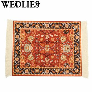 Cotton Rubber Bohemian Mini Woven Rug Mouse Pad Mousemat With Fringe Carpet Home Office Table Laptop Decorative Accessories