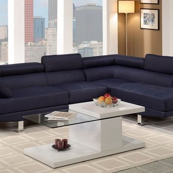 Poundex F7569 2 pc zorba collection modern style blue blended linen fabric upholstered sectional sofa with adjustable headrests and tufted seats with chrome legs