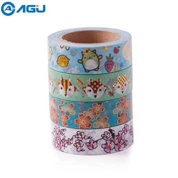 AAGU 1PC 15mm*10m Foil Washi Tape Scrapbooking Tools Cute Decorative Adhesive Japanese Stationery Washi Tapes Masking Tape