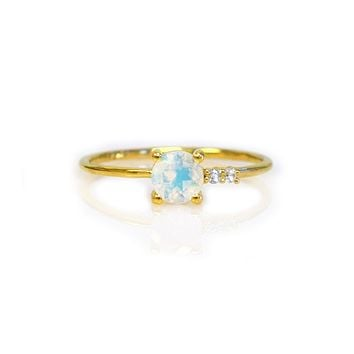Moonstone and Diamond Fiesta Ring