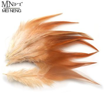 MNFT 50pcs/lot Ginger Color Pheasant Necks Feather Dun / Brown Hackle For Fly Tying Material Fly Fishing Flies Bugs Adam Lures