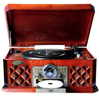 Bluetooth Wireless Streaming Classic Retro Style Record Player Turntable with CD Player, Cassette Deck, AM/FM Radio, Headphone Jack & Built-in Speakers