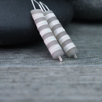 Modern Drop Earrings, Vintage Fusion, Grey White Stripes, Understated Jewelry, Urban Edge, Minimalist Design, Whisper Weight Sterling Silver