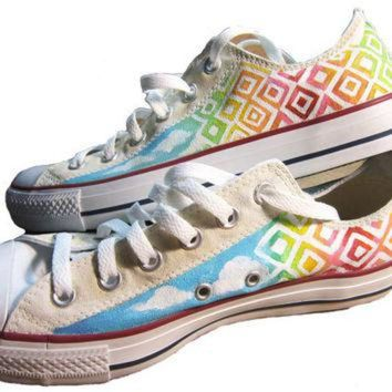VONR3I Custom painted Converse shoes Sky Shoes by ashleywhitejacobsen