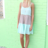 Give Me A Reason Mint Open Back Peasant Dress