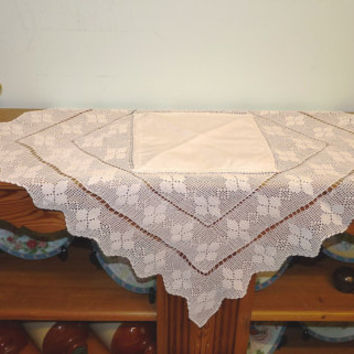 Superb Small Table Cloth, Table Topper, Table Centrepiece, White Cotton, Crocheted  Rim,