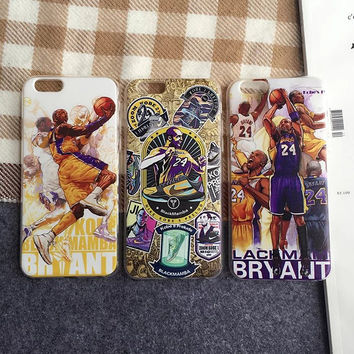 "Cute Cartoon Kobe Bryant Soft TPU Phone Case Cover For iPhone 6 6s 4.7"" 6Plus 6s Plus 5.5 Inch"