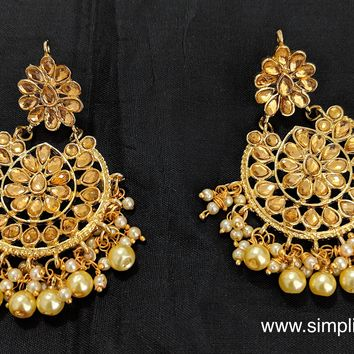 Gold Kundan stone replica Earring - Design 6