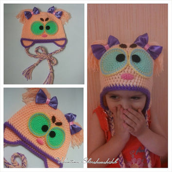 Adorable knitted hat.Crochet hat for Kids. Toddler hats