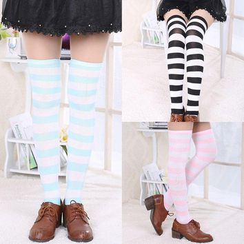 Fashion Women's Cotton Socks Thigh High Striped Over the Knee Stockings NEW POP