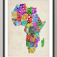 Typography Text Map of Africa Art Print on Etsy