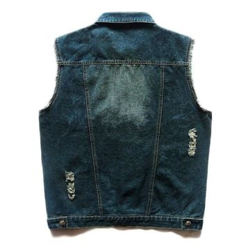 Trendy HEROBIKER Classic Vintage Motorcycke Jacket Men Club Denim Vest Motorcycle Clothing Vest Motorcycle Rider Vest Sleeveless AT_94_13