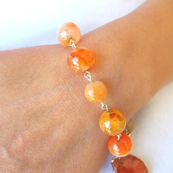 Fire Agate Gemstone Bracelet, Orange Gemstone Stacking Bracelet
