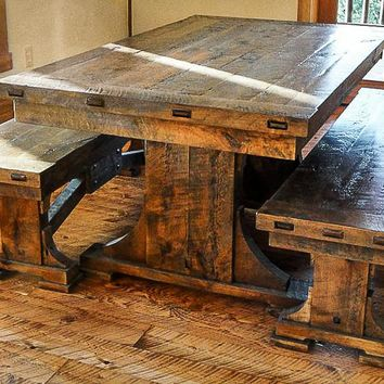Trestle Dining Table Bench ~ Hawk Creek Collection
